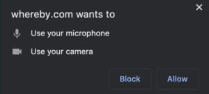 Beroende på din webbläsare, så kan du också behöva godkänna tillgång till mikrofon och video igen. I detta fallet för Google Chrome.
