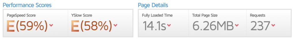 GTMetrix-resultat för hemsida 1.