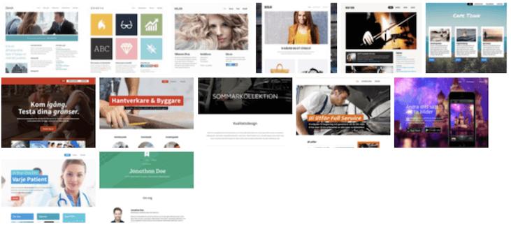 Hemsida24 mallar: Här finns en del designer att använda sig av men inte alls lika många som andra liknande verktyg.
