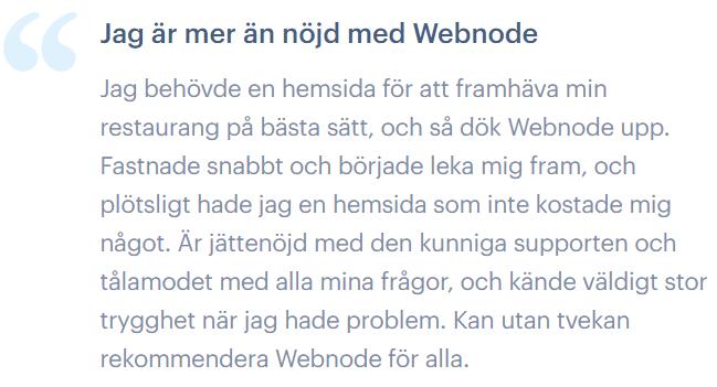 En riktigt nöjd användare av Webnode.
