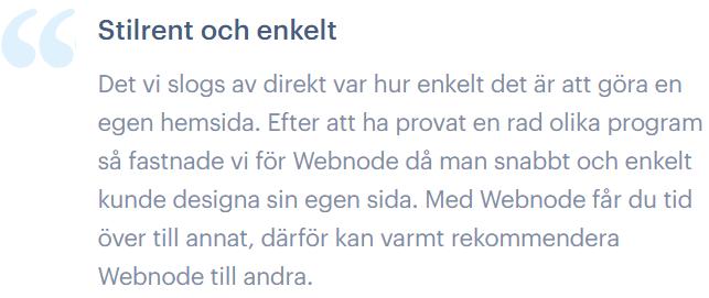 Ett tredje citat från en nöjd användare av Webnode.