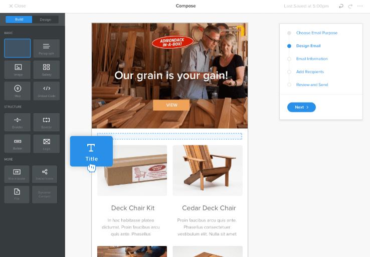 Weebly har stöd för marknadsföring via e-mail om du vill sälja produkter därigenom.