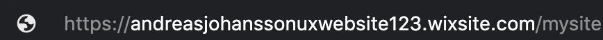 Wix - standarddomän för gratiskonto ser ut så här.