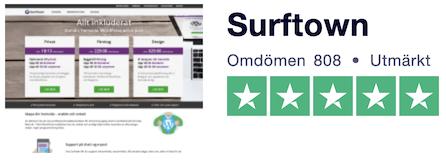 Omdömena på Trustpilot för Surftown är bra - 4.9 av 5 i betyg.
