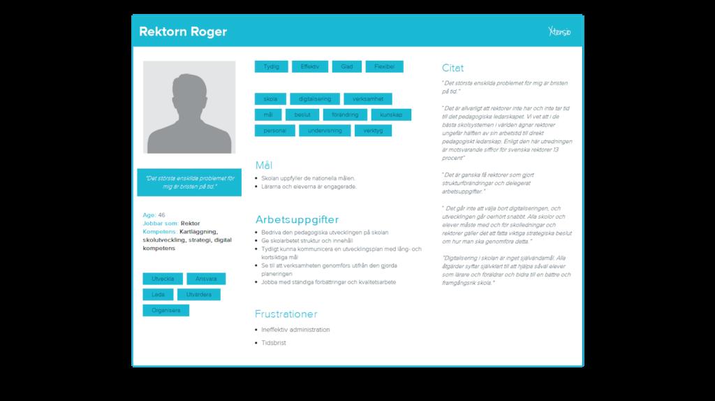 Exempel på persona som jag har gjort för tidigare projekt.